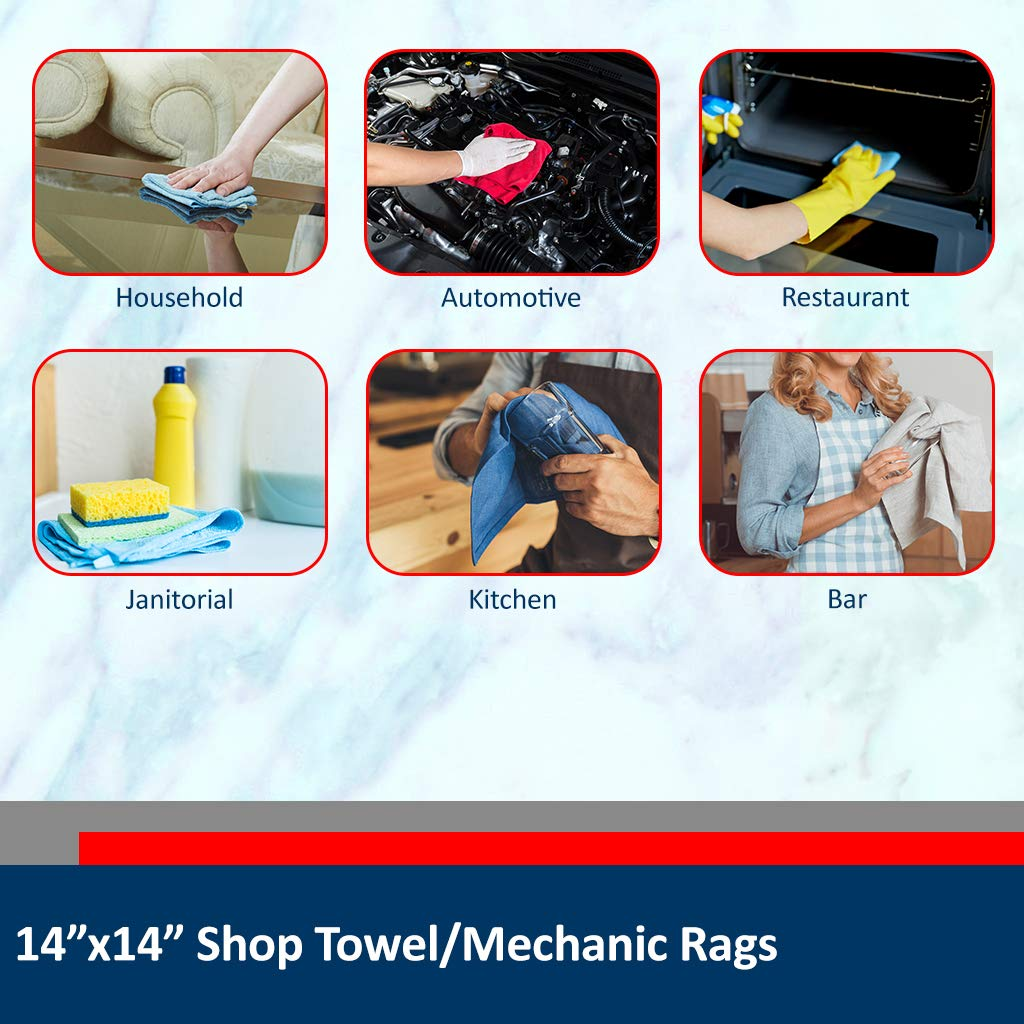 Sara Glove 14x14 Inch Shop Towel/Cleaning Mechanic Rags - 100% Cotton Commercial Towels, Perfect for Automotive Garage, Kitchen, Home (Blue) (100 Count) by Sara Glove (Image #4)