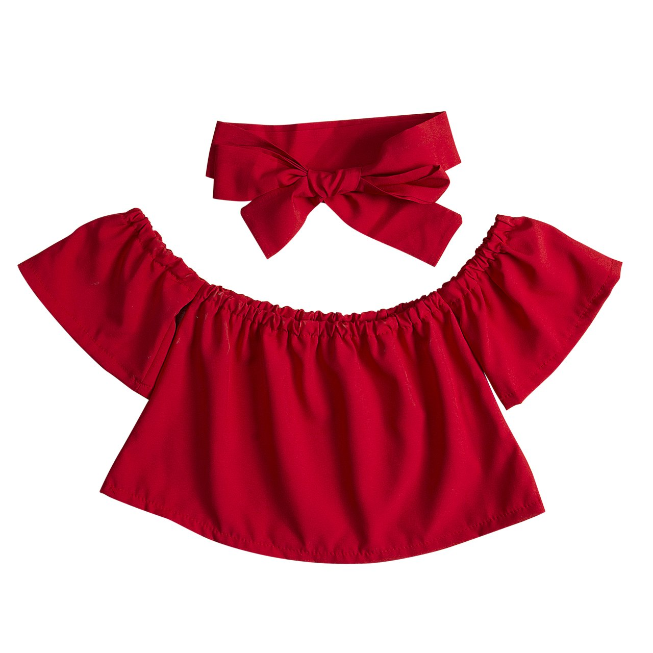Cute Baby Girls Solid Off Shoulder Elastic Fashion Ruffle Romper Shorts Blouse + Bow Headband 2pcs