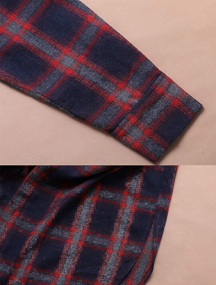 Lavnis Mens Plaid Shirts Casual Long Sleeve Lightweight Shirt Jackets