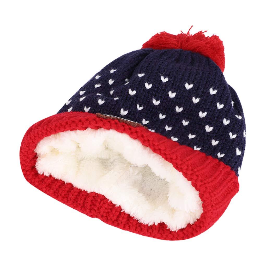 Kids/Winter Hat Scarf/Set Boys Girls/Cute Pom Pom Knit Beanie Hat/Neck Warmers Thermal Fleece Lining Outdoor Ski Cap Scarf