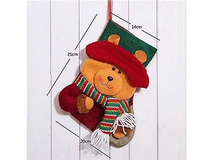 DOOUYTERT Navidad Feliz Calcetines de Navidad de Dibujos Animados Bolsa de Dulces Bolsa de Regalo Colgante