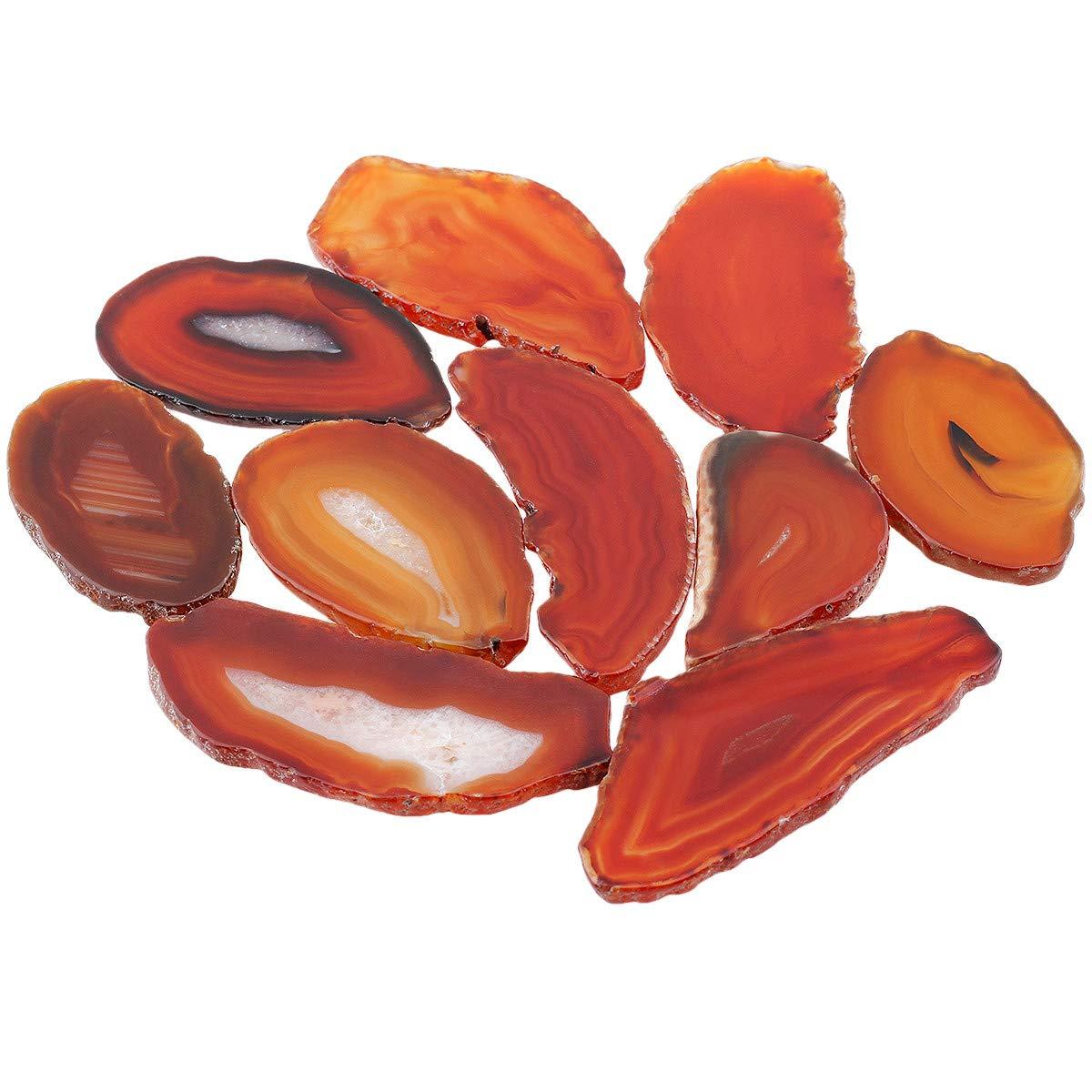 SUNYIK Red Agate Slice Set, Geode Druzy Stone Slab Wholesale, 1''-3'' in Length, Pack of 15