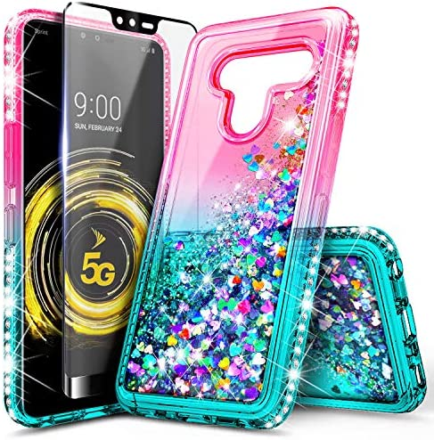 LG V50 ThinQ CaseTempered Glass Screen Protector (Full Coverage) for Girls Women NageBee Glitter Bling Liquid Floating Waterfall Sparkle Cute Case for LG V50 ThinQ 5G (2019) -PinkAqua / LG V50 ThinQ CaseTempered Glass Screen Protec...