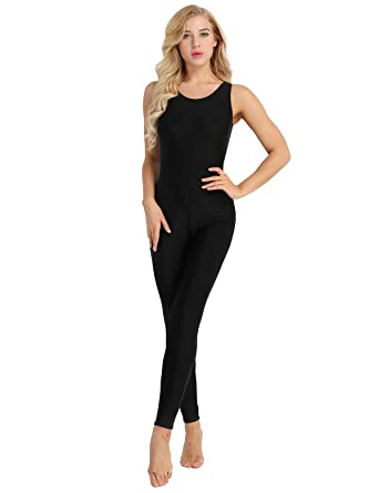 5cade9e89af6 Alvivi Women Sleeveless Active Tank Unitard One Piece Soft Stretch Yoga  Dance Leotard Bodysuit Black Small