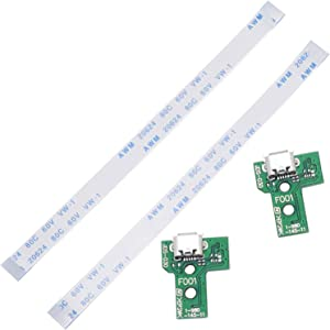 Onyehn 2pcs JDS-030 Replacement Charging Port Assembly for PS4 DualShock 4, Repair Part Micro USB Adaptor Charger Socket Board Connector Module((with 12 pin Eject Ribbon Flex Cable)