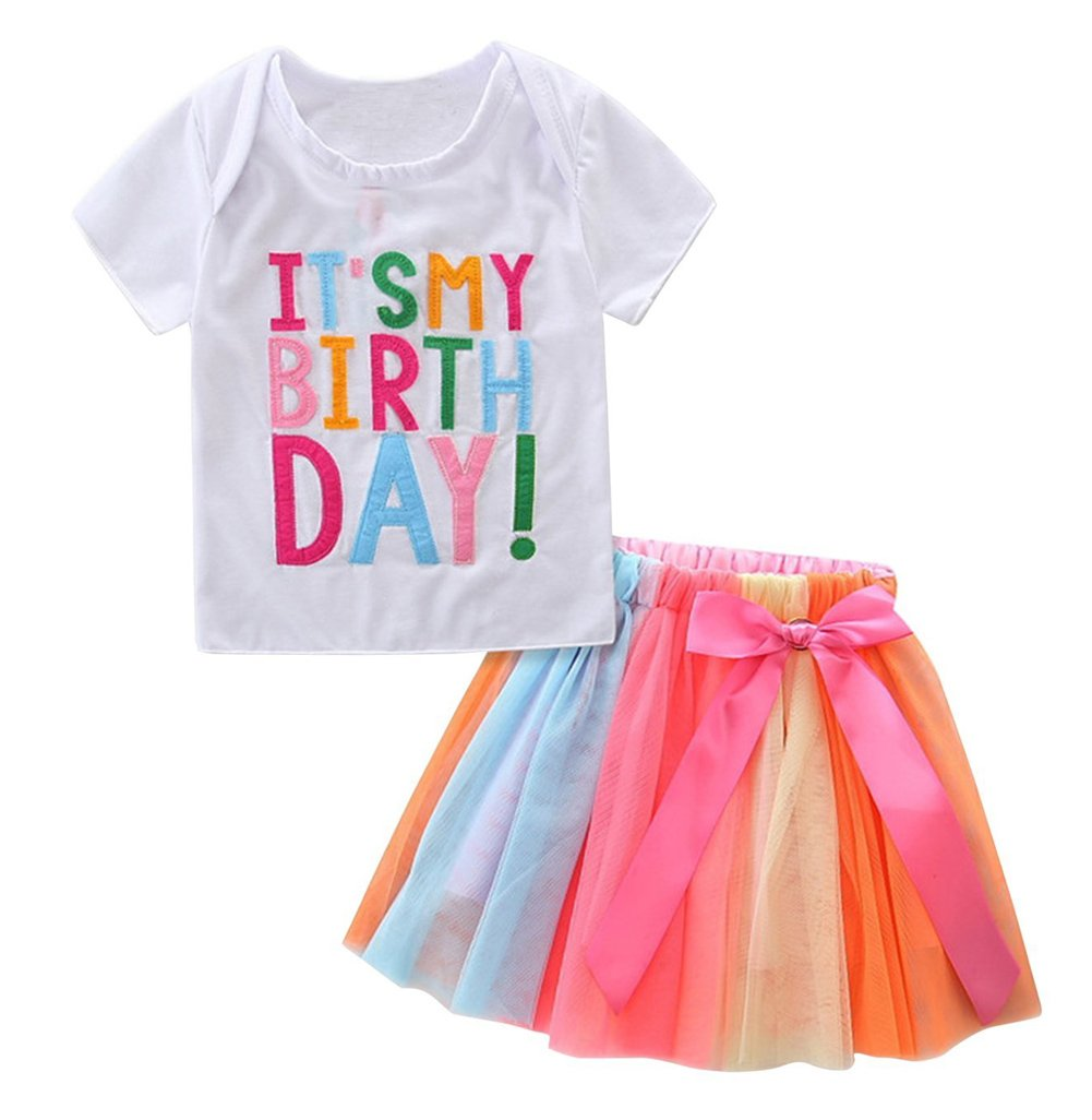 Baby Little Girls Letters T-Shirt + colorful Rainbow Skirts Birthday Gift Outfits Set (White, 2-3 T)