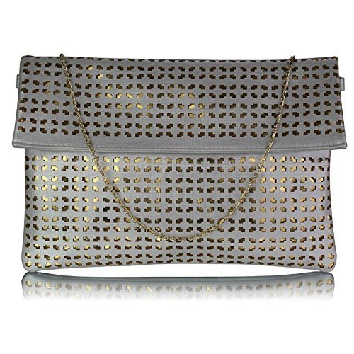 Womens Large Clutch Bags Envelope Ladies Evening Handbag Purse Glitter New Party (Silver Ruched Large Purse)