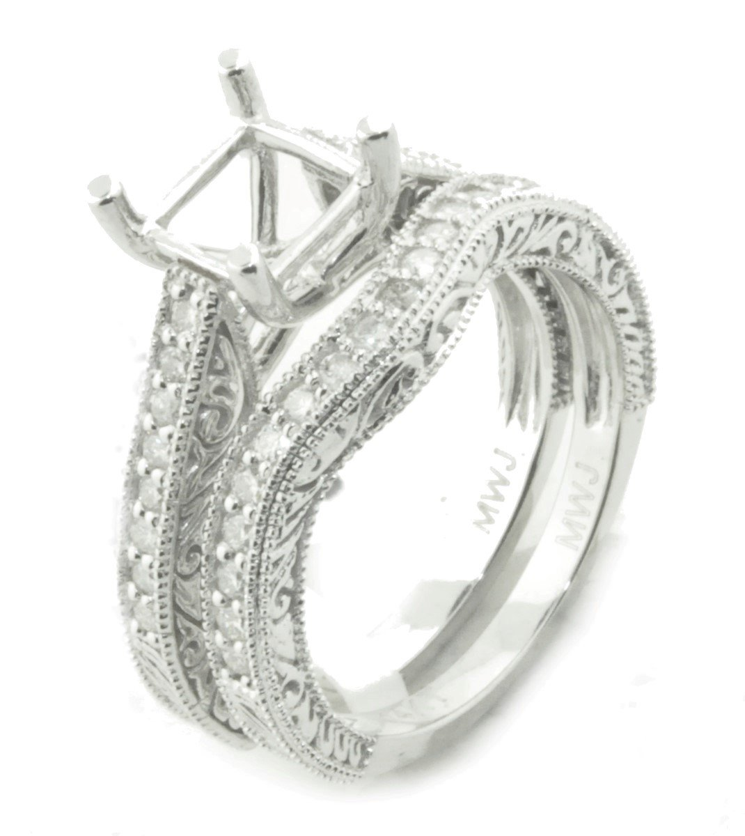 14K White Gold Semi Mount Bridal Set Rings Setting 1/2ctw Antique Style Fits 6mm Princess Center (i2/i3, i/j)