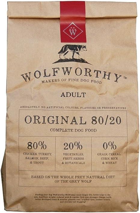 Wolfworthy Todo Natural, sin grano, 80 20 comida para perro. Calificación más alta posible en alaboutdogfood co.uk. Hecho de 80% carne y 20% verduras, ...