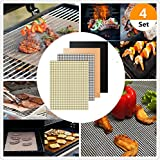(Set of 4) 4 Style Non-stick BBQ Grill Mats Barbecue Grill Pads BBQ Grill Mesh Mat Cooking Mats for Grilled Reusable and Easy To Clean Works on Gas Charcoal Electric Grill and More – 2 Colors