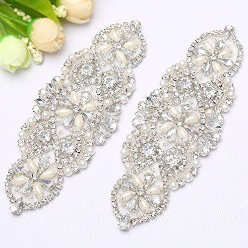 Sale Handmade Wedding Garter - QueenDream 2 Pieces Rhinestone applique chain pearl bridal applique patch