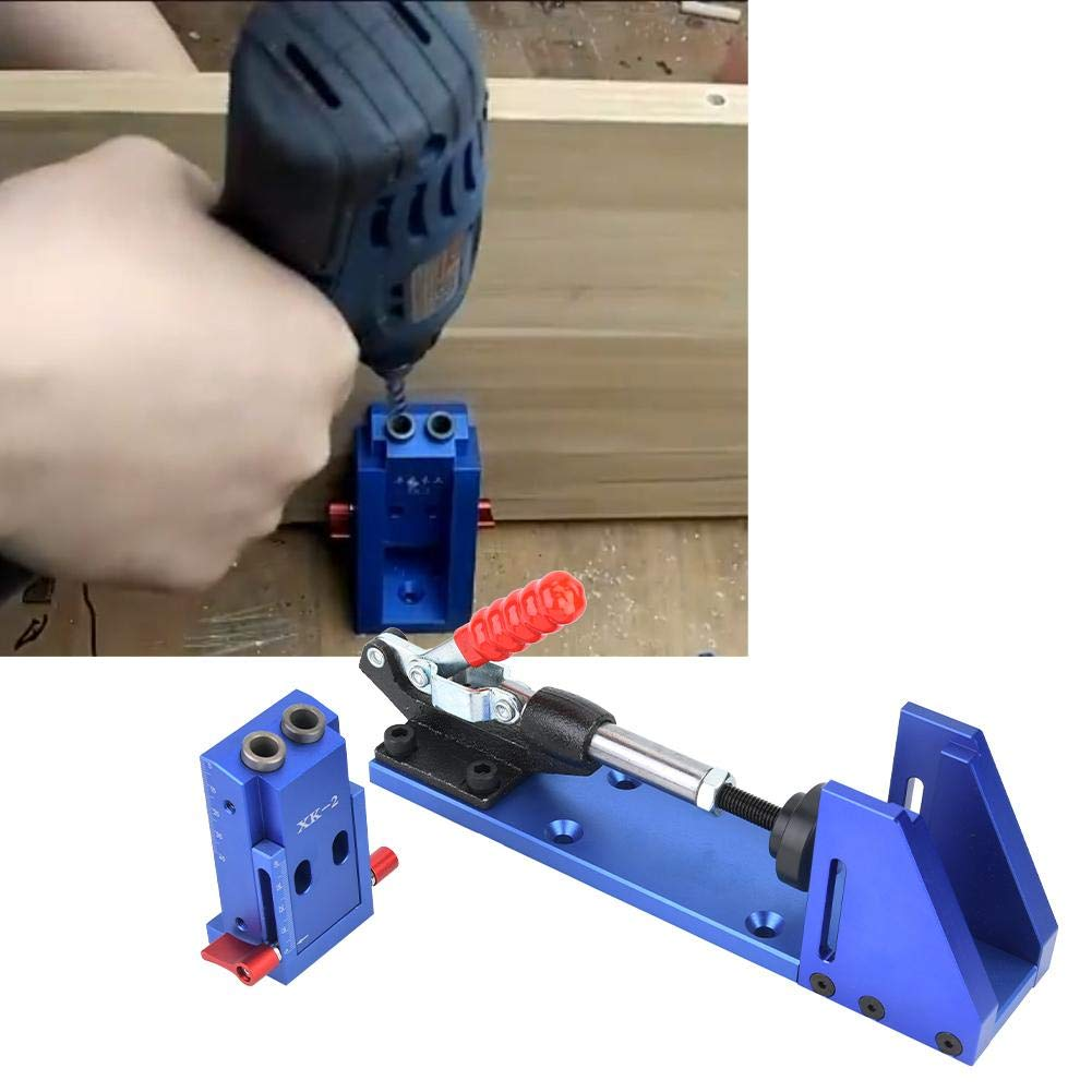 Plantilla de perforaci/ón de bolsillo Posicionador de perforadora Gu/ía de perforaci/ón Plantilla de perforaci/ón para posicionador de carpinter/ía con abrazadera de palanca y broca escalonada