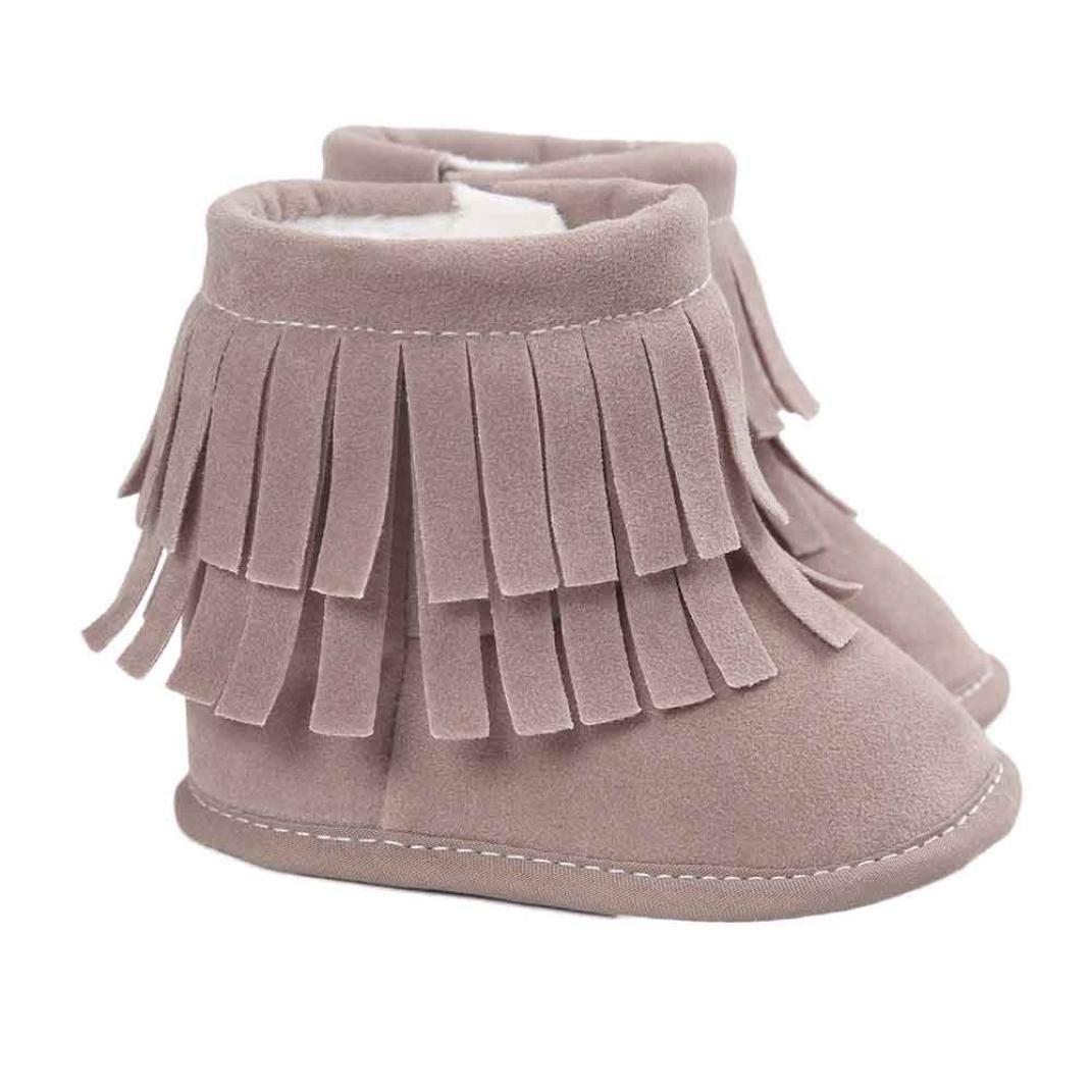 [Amiley] Baby double-deckタッセルソフト雪ブーツソフトベビーベッドシューズ幼児用ブーツ Size 13 (US:4---12~18Month) グレー B01KH5N6DA
