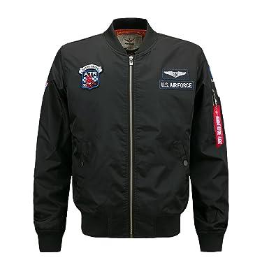 Mens MA-1 Flight Bomber Jacket US Air Force Military Classic Coat XS Black 72ab217de42