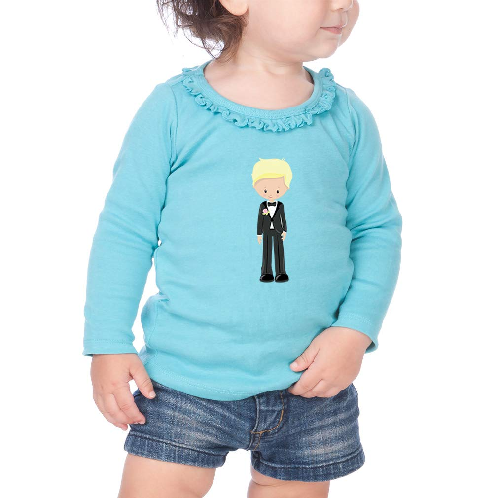 Wedding Groom Blonde Cotton Girl Toddler Long Sleeve Ruffle Shirt Top