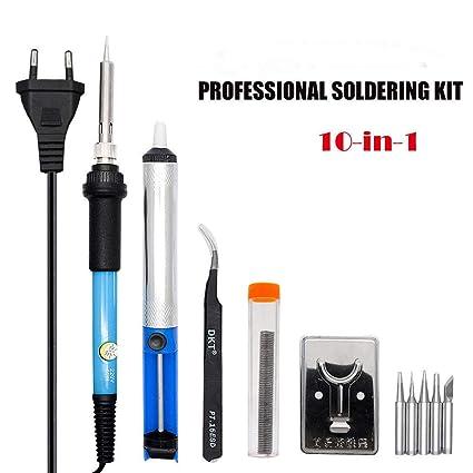 220 V 60 W soldador electrónica soldadura 10 en 1 kit, hilo de soldar para