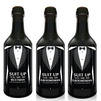 amazon com suit up mini wine bottle label stickers for the