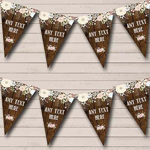 Rustic Wood Floral Personalized Christening Bunting Banner Garland