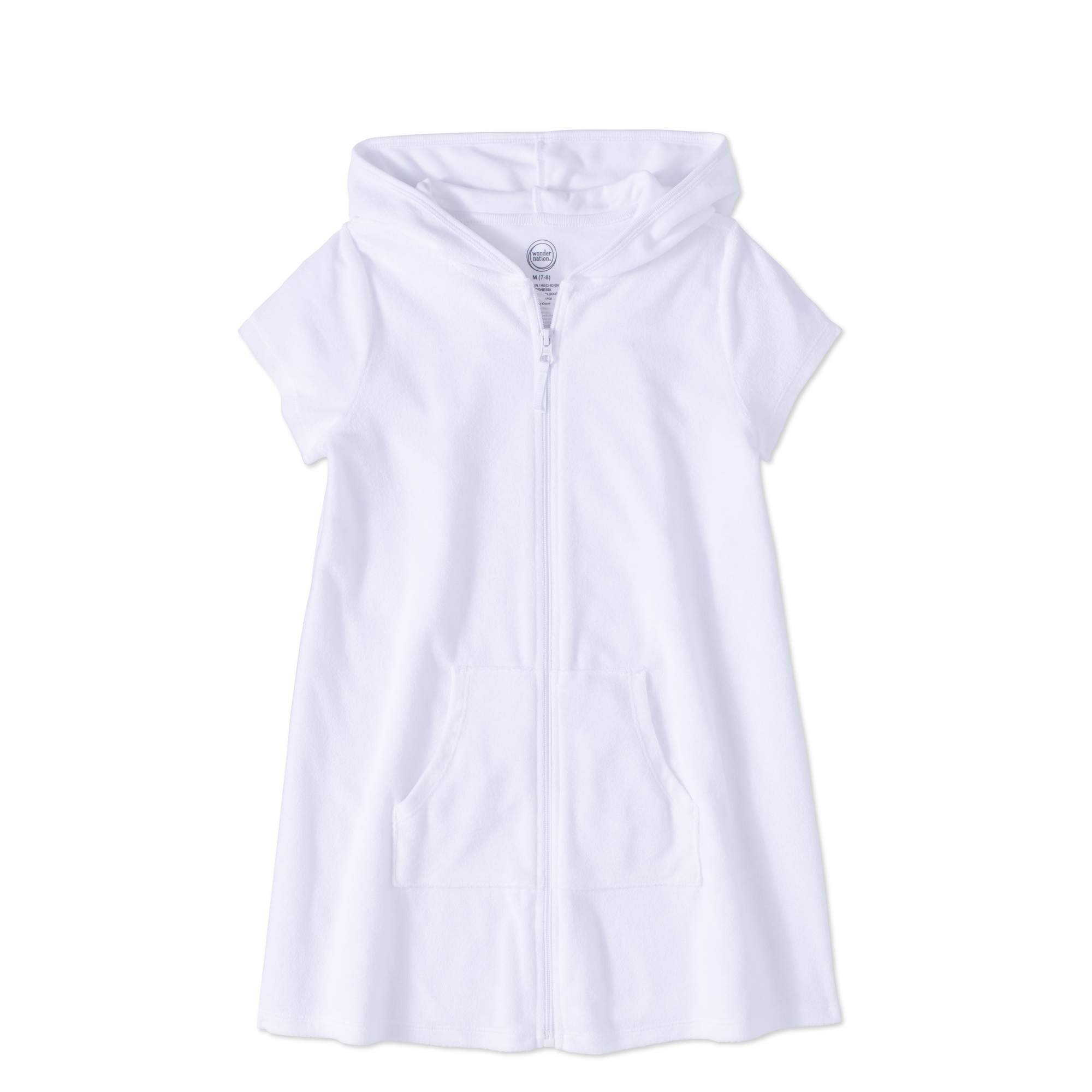 Wonder Nation Girls Hooded Zip Front Terry Swimsuit Cover Up (Small 6/6X, Arctic White)