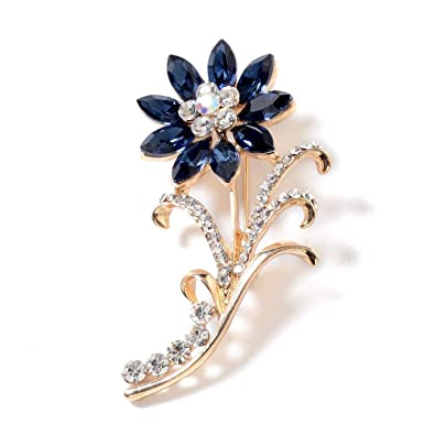 TJC Blue Glass (3 00 Ct),White Crystal,Magic Color Crystal Brooch