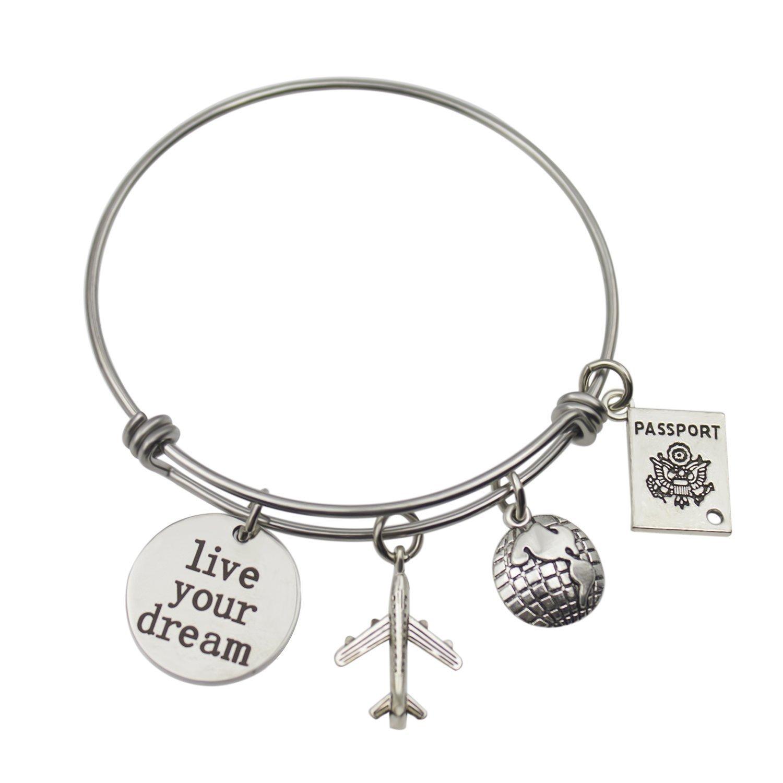 Yilian Graduation Gift Jewelry Stainless Steel travel bracelet,Live Your Dream, Gift for Girl,Women