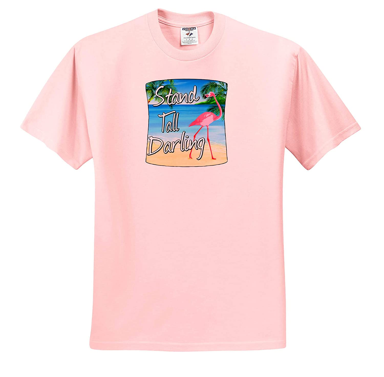 Stand Tall Darling 3dRose Macdonald Creative Studios - T-Shirts Beach Funny Beach Humor of a Pink Flamingo