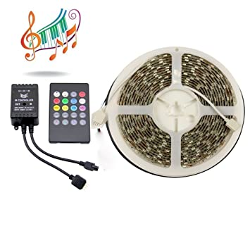 binzet 5m 5050 300leds waterproof music led strip light kit rgb led ribbon 20key ir