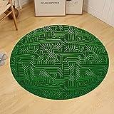 Gzhihine Custom round floor mat Digital Computer Art Backdrop with Circuit Board Diagram Hardware Wire Bedroom Living Room Dorm Emerald Fern Green