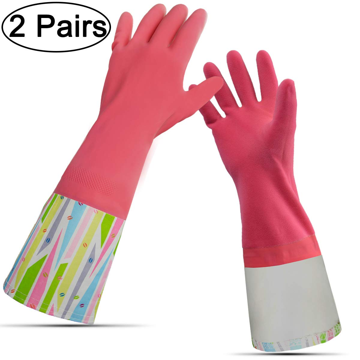 Rubber Household Gloves, Reusable Long Latex Kitchen Cleaning Gloves, with Cotton Lining (Pink 2 Pairs) by Cleanbear (Image #6)