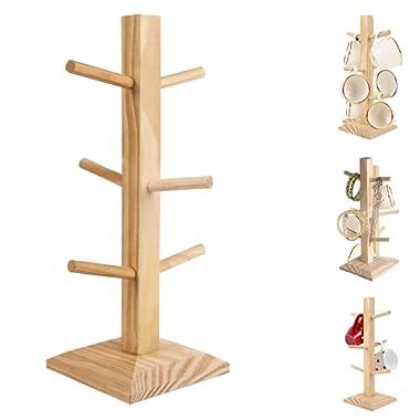 Wooden Multi Purpose Display Stand Tea Coffee Mug Cup Jewelry Tree Rack Holder 6 Hook Peg Hanging