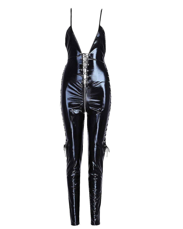 YiZYiF Sexy Women's Lace Up Deep V Neck Catsuit Open Crotch Jumpsuit
