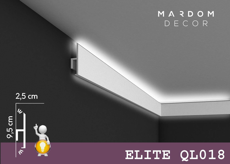 ***TOPSELLER*** MARDOM DECOR Lichtleiste I QL018 I Stuckleiste Wandleiste Deckenleiste I fü r indirekte LED Beleuchtung konzipiert I 200 cm x 9, 5 cm x 2, 5 cm