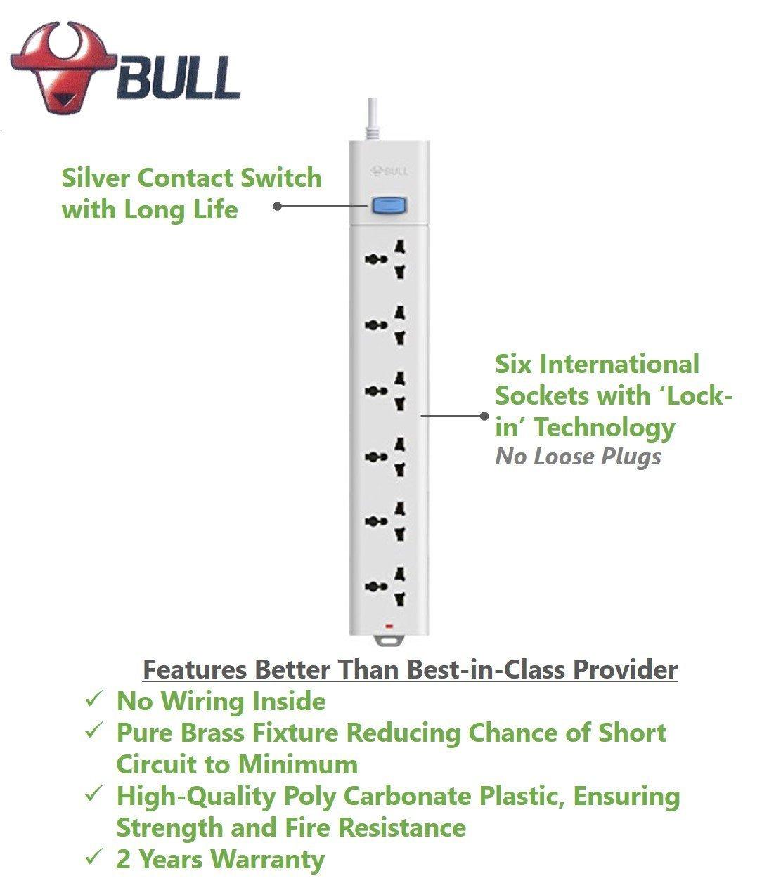 Gongniu (Formerly Bull) Extension Board; 6 Socket, 1 Switch, 3 M Wire