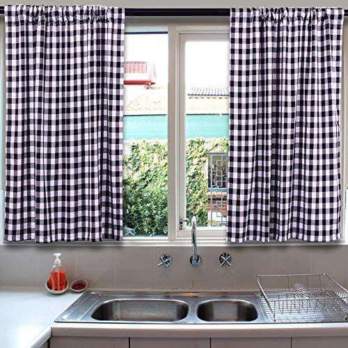 LGHome Buffalo Check Curtains, Plaid Window Treatment, Kitchen Window Panels, Black and White, 36x36inch, Pack of 2