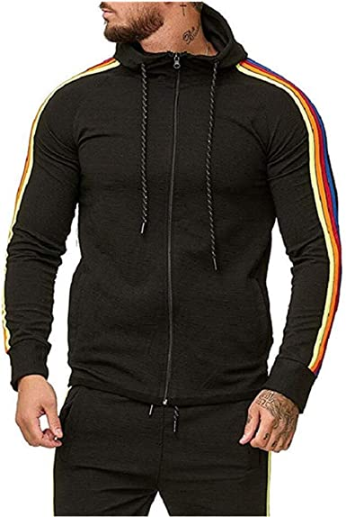 acelyn Men Striped 2 Pieces Tracksuits Zip Up Drawstring Hoodie Sweashirts and Pant Athletic Sweatsuits