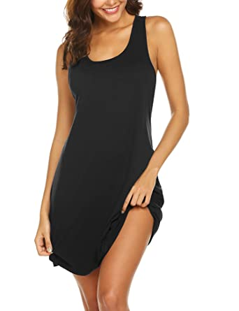 007d4725 Avidlove Sexy Sleepwear for Women Tank Nightgown Chemise Racerback  Sleeveless Sleep Dress Black