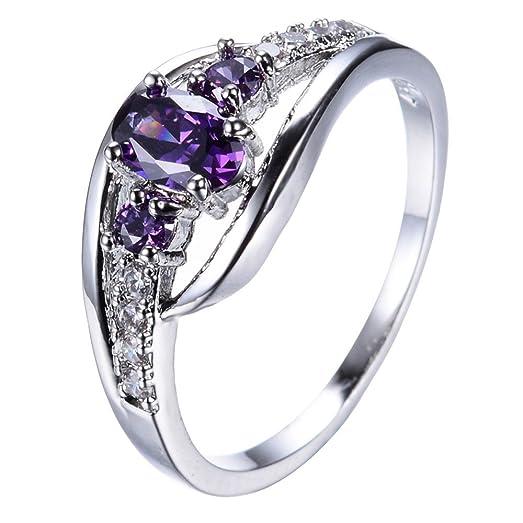 TF Jewelry Purple Oval Zircon Stone Rings Wedding For Women Engagement Bridal
