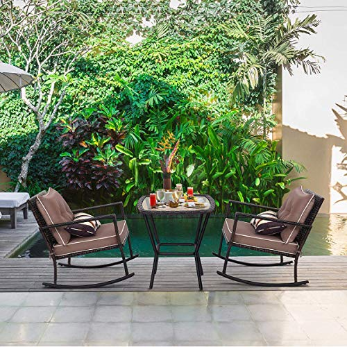(Tangkula Rocking Set 3 Piece Outdoor Patio Garden Poolside Wicker Rattan Two Rocking Chairs and One Glass Top Coffee Table Set Cushioned Conversation Set)