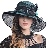 FORBUSITE Kentucky Derby Church Hats for Women Dress Wedding Hat (Feather-Green)