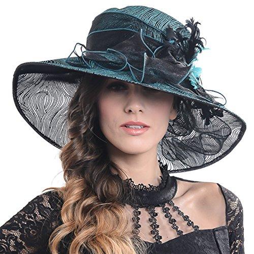 - FORBUSITE Kentucky Derby Church Hats for Women Dress Wedding Hat (Feather-Green)