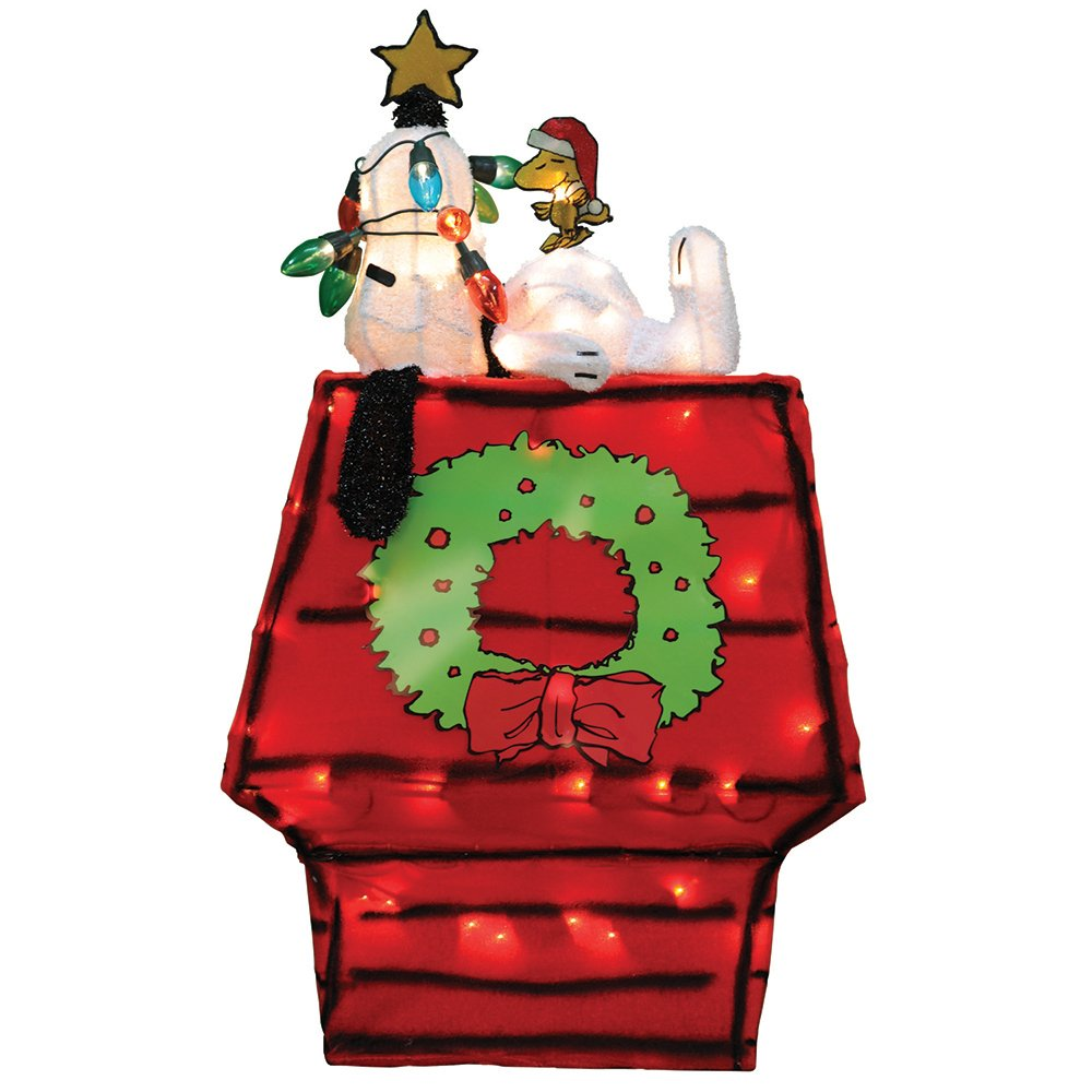 Peanuts 60389 26'' 3D Prelit Yard Art Snoopy On Dog House with Star