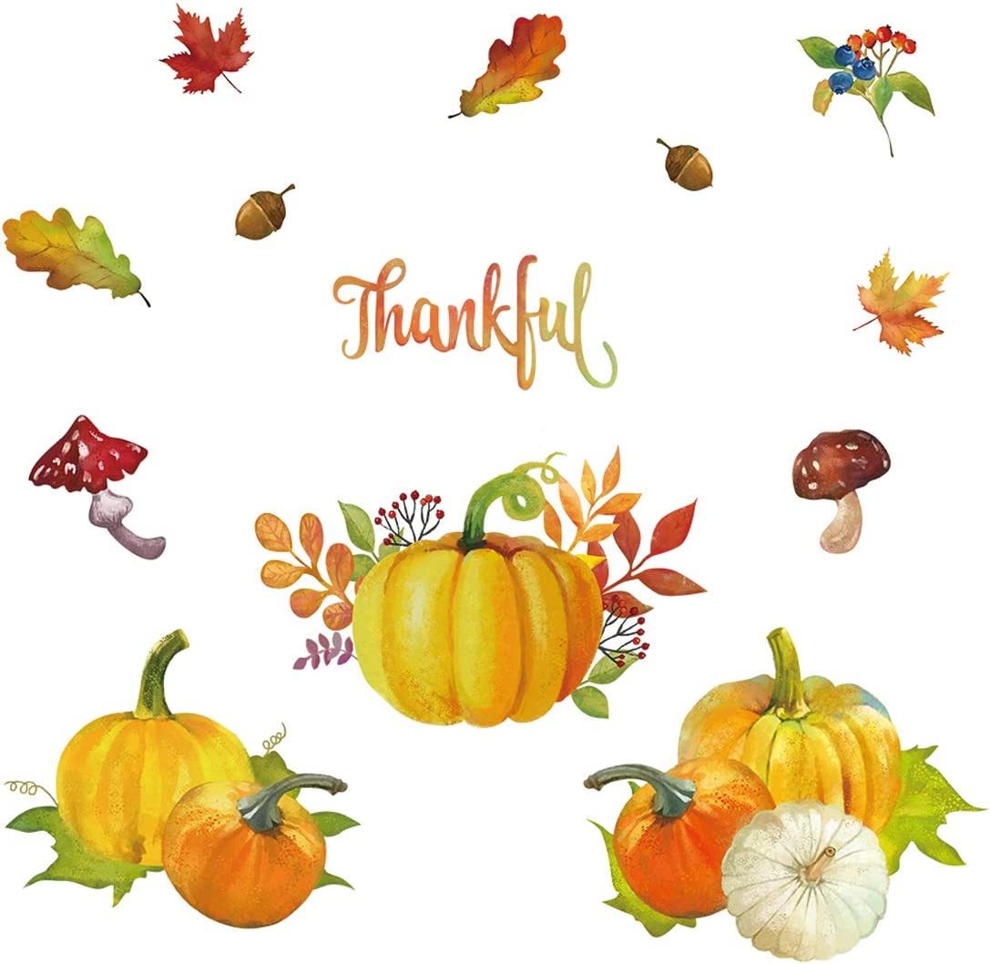 decalmile Pumpkin Leaves Wall Stickers Thankful Fall Wall Decals Kitchen Dining Room Living Room Wall Decor
