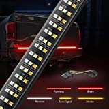 MICTUNING 60 inches Triple 504 LEDs Tailgate Strip Light Waterproof with 4-Way Flat Connector Wire - Solid Amber Turn…