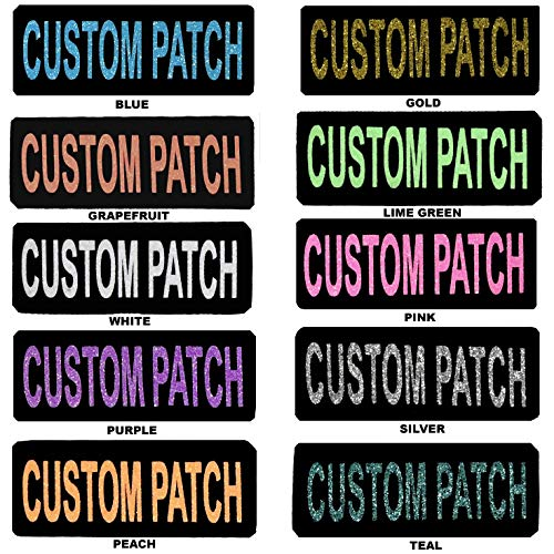 Dogline Custom Patch w/Glitter Letters for Dog Vest, Harness or Collar | Customizable Bling Text | Personalized Patches w/Hook Backing | Name, Agility, Service Dog, ESA | 1 Patch D - Text Patch