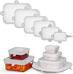 Adpartner Silicone Stretch Lids, NEW Rectangle 6-Pack of Various Sizes Stretchable Silicone Lids, Reusable BPA-free Food Storage Covers Flexible Container Lids, Microwave and Dishwasher Use Safe