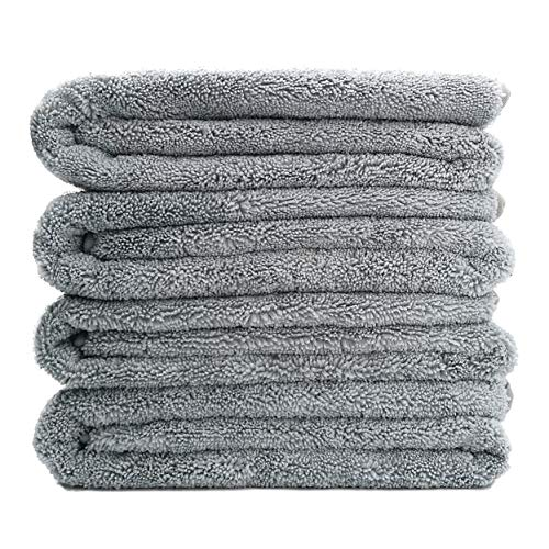 Polyte Premium Quick Dry Lint Free Microfiber Bath Towel, 57 x 30 in, Set of 4 (Gray)