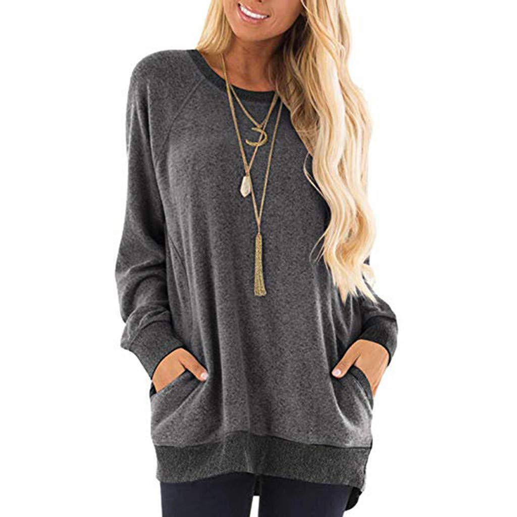 ✦HebeTop✦ Womens Casual Color Block Long Sleeve Round Neck Pocket T Shirts Blouses Sweatshirts Tops Black by HebeTop➟Women's Clothing