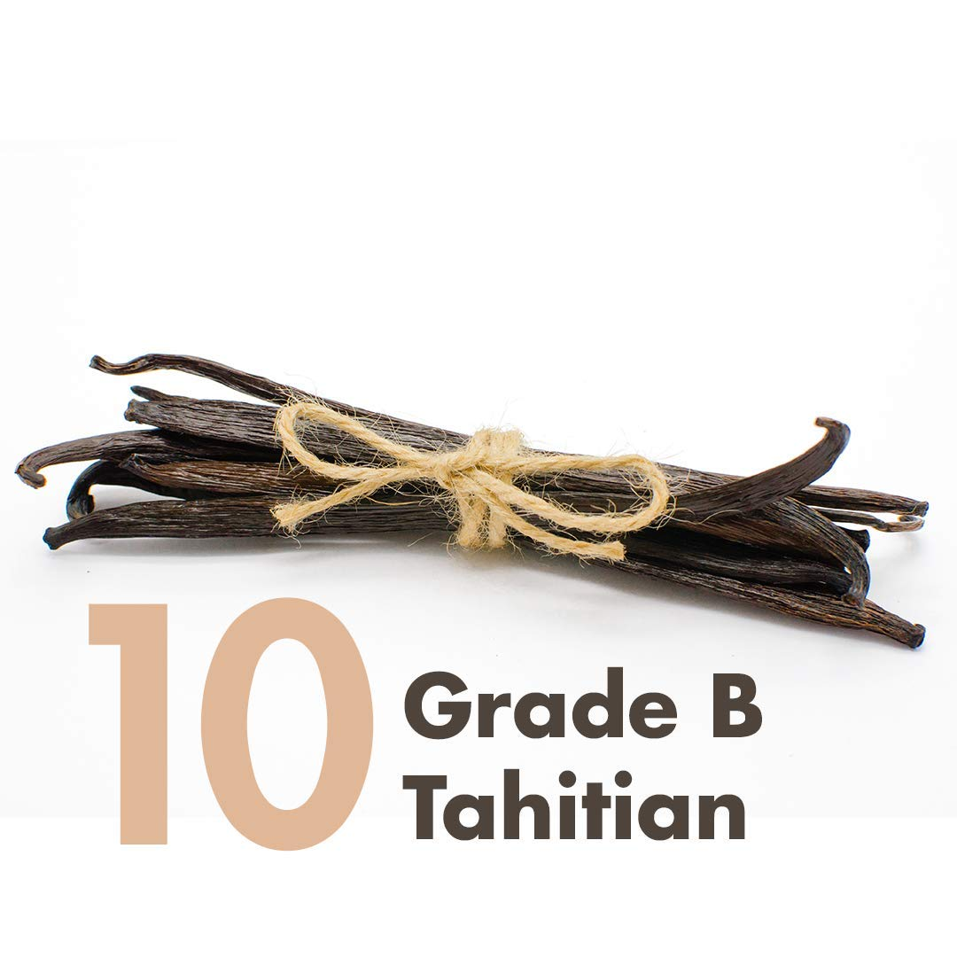 Vanilla Beans (Tahitian) - 10 x Extract Grade B 4~6'' for Baking, Extract, Coffee, Brewing, Cooking