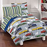 7 Piece Colorful Speedy Trains Patterned Sheet Set Full Size, Featuring Geometric Horizontal Stripes Vibrant Vintage Style Train Bedding, Modern Bed in A Bag Artistic Design Kids Bedroom, Multicolor