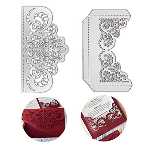 Vinfutur Wedding Invitation Cutting Dies Embossing Stencil 2pcs Diy Invitation Cards Cutting Dies For Card Making Wedding Invites Card Craft Carbon